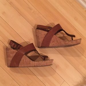 Dani Black - Anthropologie cork wedge thongs